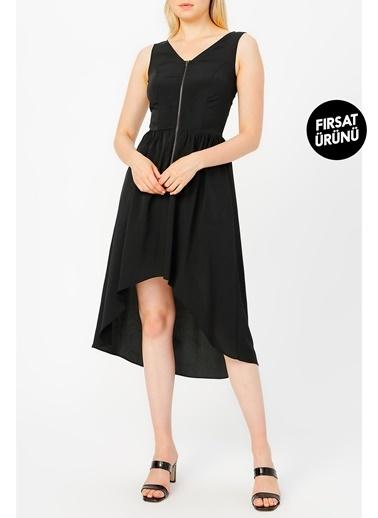 Random Kadın Fermuar Detaylı Asimetrik Kesim Elbise Siyah